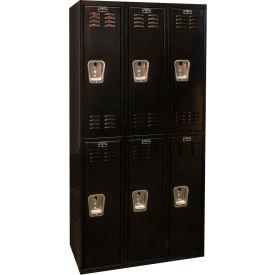 Hallowell U3282-2A-ME Black Tie Locker Double Tier 12x18x36 6 Doors Assembled, Black