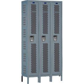 Hallowell U3558-1HDV Heavy-Duty Ventilated Locker Single Tier 15x15x72 3 Doors Unassembled Dark Gray