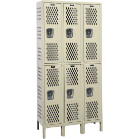 Hallowell U3818-2HV-A Heavy-Duty Ventilated Locker Double Tier 18x21x36 6 Doors Assembled Parchment