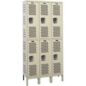 Hallowell U3818-2HV-A Heavy-Duty Ventilated Locker Double Tier 18x21x36 6 Doors Assembled Parchment