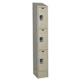 Hallowell URB1228-3ASB-PT Ready-Built II Locker Triple Tier 1 Wide - 12x12x27-5/16 Parchment