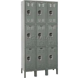 "Hallowell URB3228-3A-HG ReadyBuilt Locker, 36""W x 12""D x 26""H,Gray, Triple Tier, 3 Wide"