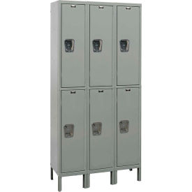 Hallowell UY3558-2A Maintenance-Free Quiet Locker Double Tier 15x15x36 6 Doors Assembled - Dark Gray