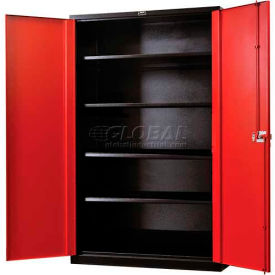 "Hallowell FK4SC8478-4BR-HT Fort Knox Cabinet, 48""W x 24""D x 78""H, Black Body, Red Doors"