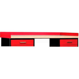 "Hallowell FKSBRK7224RR-HT Fort Knox Side and Back Rail Kit, 72""W x 24""D x 5""H, Red"