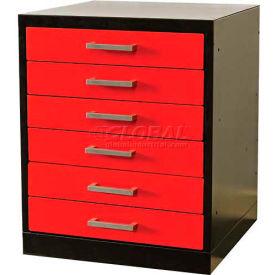 "Fort Knox Workbench Pedestal-6 Drawer, 24""x24""x 32"",Black Body, Red Doors,1-Wide"