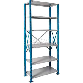 "Hallowell H-Post High Capacity Shelving 36""W x 24""D x 87""H 6 Adj Shelves Open Style, Shelf Starter"