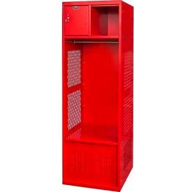 Hallowell KSBF422 Gear Locker 24x22x 72, w/Top Shelf Security Box, Foot Locker, Relay Red, Assembled by