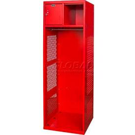 Hallowell KSBN422-1C-RR Gear Locker, 24x22x72, w/Top Shelf, Security Box, Relay Red, Unassembled