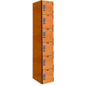 Hallowell PHL1282-6A-E-FA VersaMax Phenolic Locker 12x18x12 Six Tier, 1 Wide, Annigre, DigiTech Lock