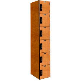 Hallowell PHL1282-6A-FA VersaMax Phenolic Locker, 12x18x12, Six Tier, 1 Wide, Annigre, Padlock Hasp