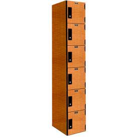 Hallowell PHL1282-6A-K-FA VersaMax Phenolic Locker 12x18x12, Six Tier, 1 Wide, Annigre, Key Cam Lock