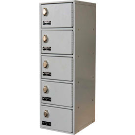 Hallowell UCTL192(30)-5A-PL Tablet/Cell Phone Locker, 9x12x30-1/2, 5 Door, 1 Wide Padlock Hasp Gray