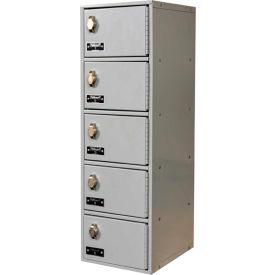 Hallowell UCTL192(30)-5A-PL Tablet/Cell Phone Locker, 9x12x30-1/2, 5 Door-1 Wide, Padlock Hasp, Gray
