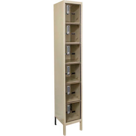 Hallowell UESVP1228 Safety-View Plus Locker w/DigiTech Lock 12x12x12 - 6 Tier 1W Assembled - Tan