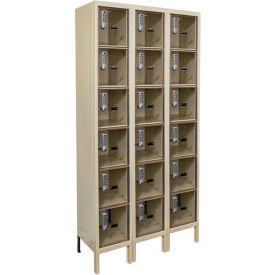 Hallowell UESVP3228 Safety-View Plus Locker w/DigiTech Lock 12x12x12 - 6 Tier 3W Assembled - Tan