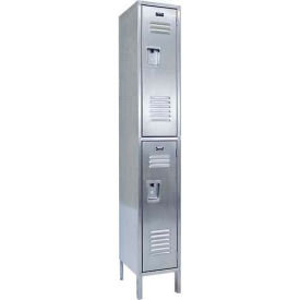 "Hallowell USS1288-2A 304 Stainless Steel Locker, 12""W x 18""D x 78""H, Double Tier, 1 Wide, Assembled"