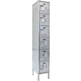 "Hallowell USS1888-6 304 Stainless Steel Locker, 18""W x 18""D x 78""H, Six Tier, 1 Wide, Unassembled"
