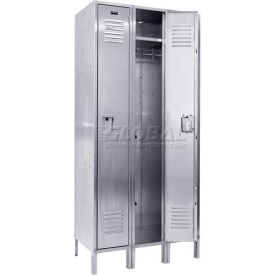 "Hallowell USS3288-1 304 Stainless Steel Locker, 12""W x 18""D x 78""H, Single Tier, 3 Wide, Unassembled"