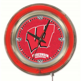 "University of Wisconsin Script ""W"" Double Neon Ring 15"" Dia. Logo Clock"