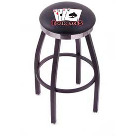 "4 Aces 30""H Single-Ring Swivel Bar Stool With BK L8B2C"