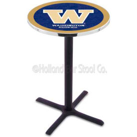 "University Of Washington 36"" Height Pub Table With A 28"" Diameter Top And Black Wrinkle Base L211"