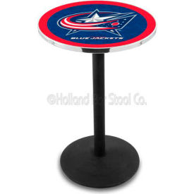 "Columbus Blue Jackets 36"" Height Pub Table With 36"" Diameter Top And Black Wrinkle Base L214"