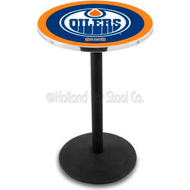 "Edmonton Oilers 36"" Height Pub Table With 36"" Diameter Top And Black Wrinkle Base L214"