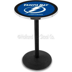 "Tampa Bay Lightning 36"" Height Pub Table With 36"" Diameter Top And Black Wrinkle Base L214"