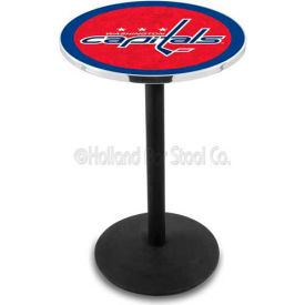 "Washington Capitals 36"" Height Pub Table With 36"" Diameter Top And Black Wrinkle Base L214"