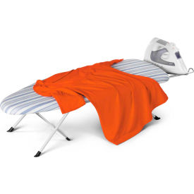 Foldable Tabletop/Countertop Ironing Board, White Frame/Blue Stripe Cover, Plastic/Foam/Cotton/Steel