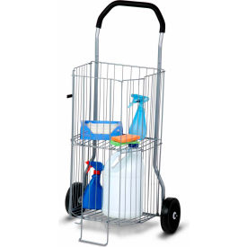 "2-Tier Wheeled All-Purpose Folding Utility Cart - 20""L x 14""W x 38""H - 50 Lb Capacity"