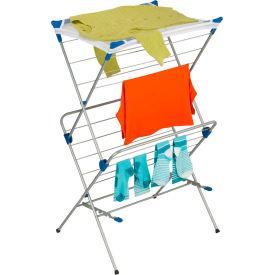 2-Tier Portable Top Clothes Drying Rack, Gray, Steel/Nylon Mesh, 33-Linear Feet Capacity