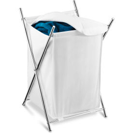 X-Frame Chrome Single Compartment Folding Laundry Hamper w/Removable Covered Bag, White