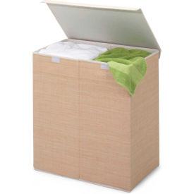 Double Folding Laundry Hamper/Sorter w/Lid, Natural, Resin