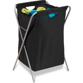 X-Frame Folding Laundry Hamper With Removable Covered Bag, Black, Nylon/Steel