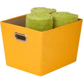 Medium Decorative Storage Bin With Handles, Yellow