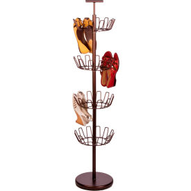 4 Tier Revolving Shoe Tree, Bronze, Powder Coated Steel, 24 Pair Capacity