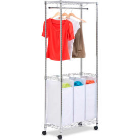 Urban Laundry Center On Rolling Casters, White/Chrome, Steel/Canvas
