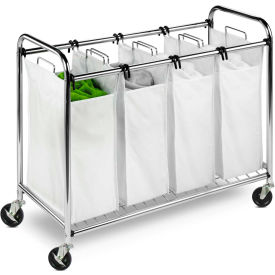 Heavy-Duty Quad Section Laundry Sorter, Chrome, Chrome, Steel/Cotton/Plastic