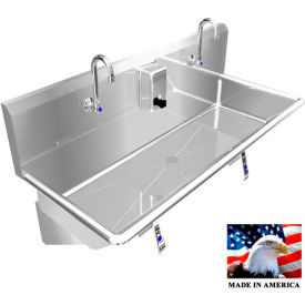 "Stainless Steel Sink, 2 Station w/Knee Operated Faucets, Wall Mounted 48"" L X 20"" W X 8"" D"