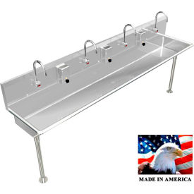 """Stainless Steel Sink, 4 User w/Electronic Faucets, Straight Legs 96"""" L X 20"""" W X 8"""" D"""