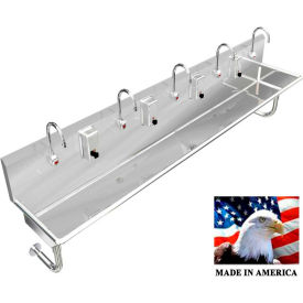 """Stainless Steel Sink, 5 Users w/Electronic Faucets, Round Tube Mounted 100"""" L X 20"""" W X 8"""" D"""