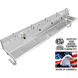 """Stainless Steel Sink, 5 Stations w/Manual Faucets, Round Tube Mounted 100"""" L X 20"""" W X 8"""" D"""