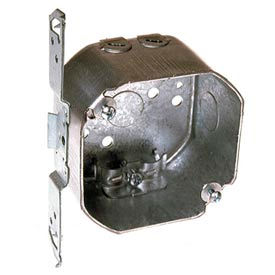 """Hubbell 119 Octagon Box 3-1/2"""", 1-1/2"""", 1/2"""" Side Knockouts, Nmsc Clamps, Stud Bracket - Pkg Qty 25"""
