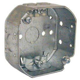 """Hubbell 145 Octagon Box 4"""", 1-1/2"""" Deep, 1/2"""" Side Knockouts, Nmsc Clamps - Pkg Qty 50"""