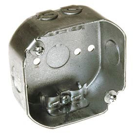 """Hubbell 146 Octagon Box 4"""", 1-1/2"""" Deep, 1/2"""" Side Knockouts, Side Holes, Nmsc Clamps - Pkg Qty 50"""