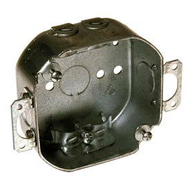 """Hubbell 150 Octagon Box 4"""", 1-1/2"""" Deep, 1/2"""" Side Knockouts, Plaster Ears, Nmsc Clamps - Pkg Qty 50"""