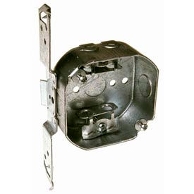 "Hubbell 155 Octagon Box 4"", 1-1/2"" Deep, 1/2"" Side Knockouts, Mc/Bx Clamps, Stud Bracket - Pkg Qty 50"