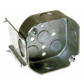 "Hubbell 158 Octagon Box 4"", 1-1/2"" Deep, 1/2"" Side Knockouts, J Stud Bracket - Pkg Qty 50"